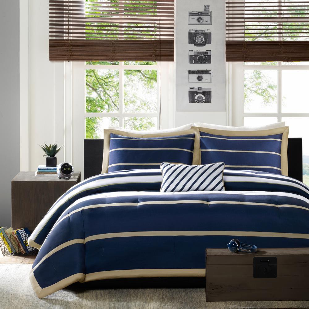 Jonah 4-Piece Navy Full/Queen Comforter Set