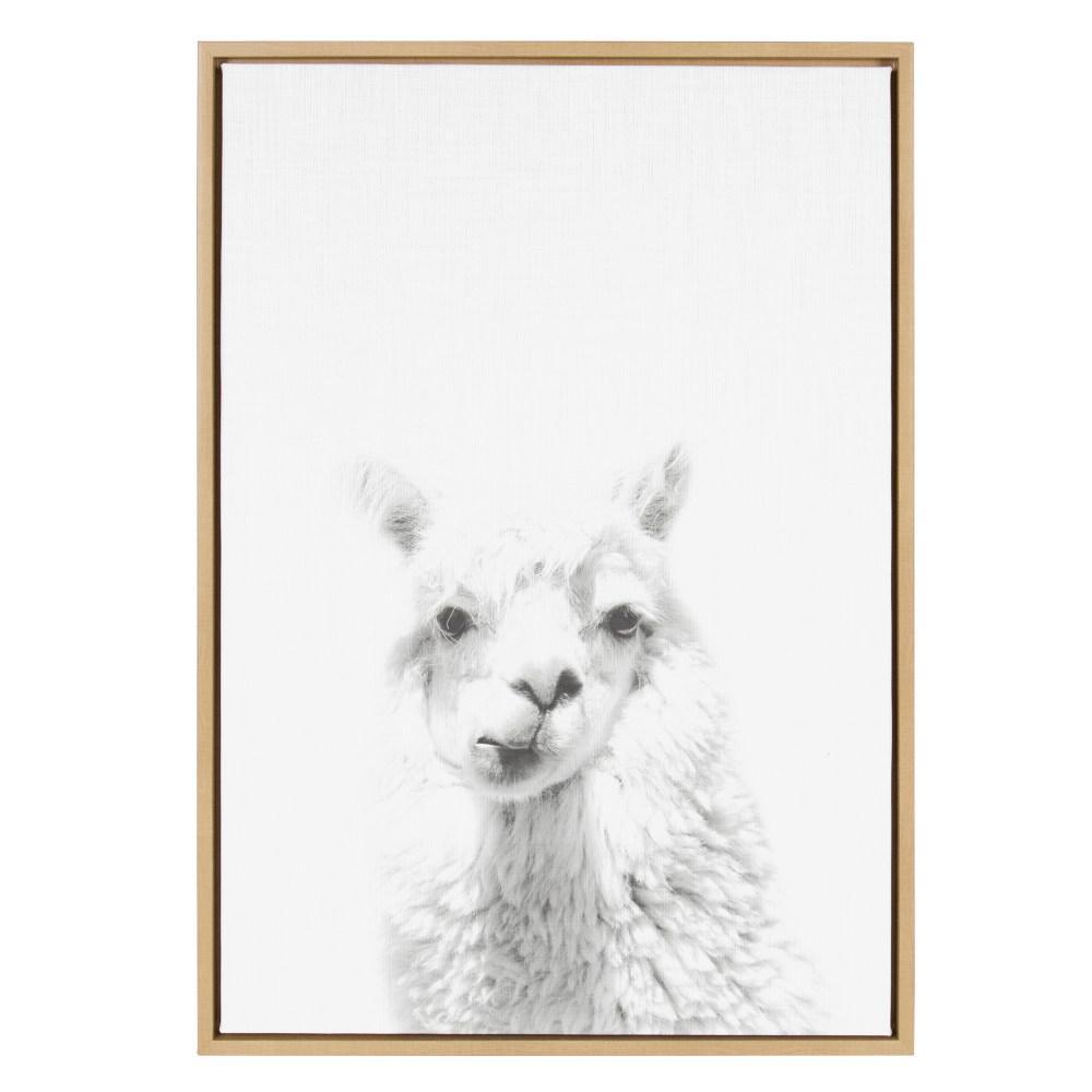"33 in. x 23 in. ""Alpaca Portrait"" by Tai Prints Framed Canvas Wall Art"
