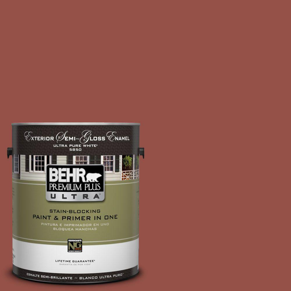 BEHR Premium Plus Ultra 1-Gal. #UL120-21 Powdered Brick Semi-Gloss Enamel Exterior Paint