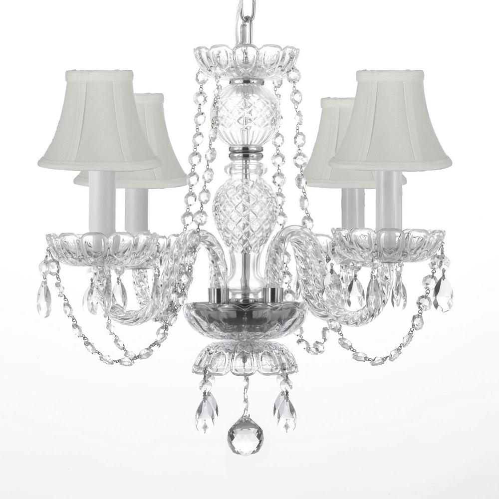 4 light venetian style empress crystal chandelier with white shades 4 light venetian style empress crystal chandelier with white shades arubaitofo Gallery