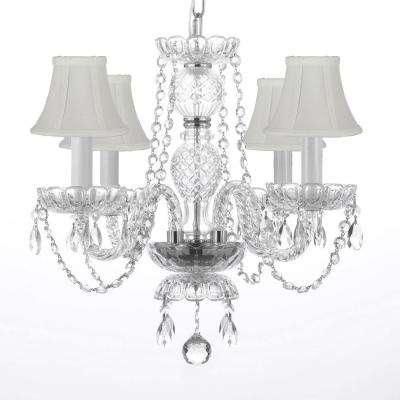 4-Light Venetian Style Empress Crystal Chandelier with White Shades