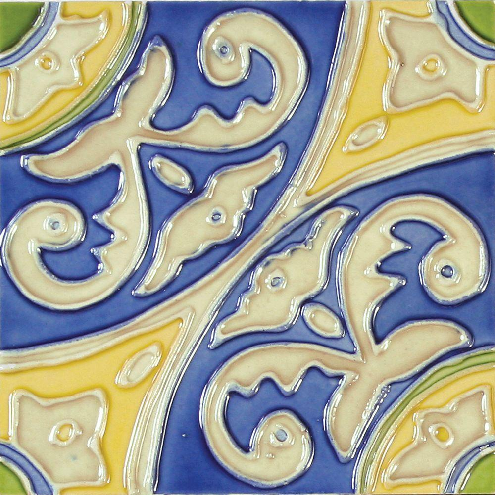 Solistone Hand Painted Circulo Deco 6 In X 6 In Ceramic Wall Tile