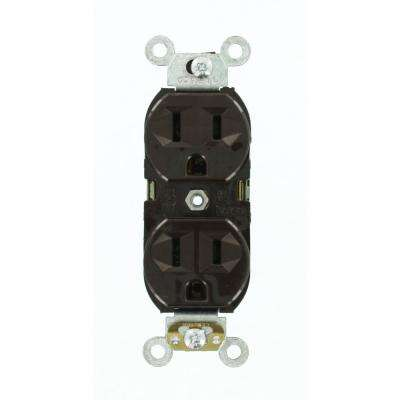 15 Amp 125-Volt Narrow Body Duplex Outlet Straight Blade Commercial Grade Self Grounding, Brown