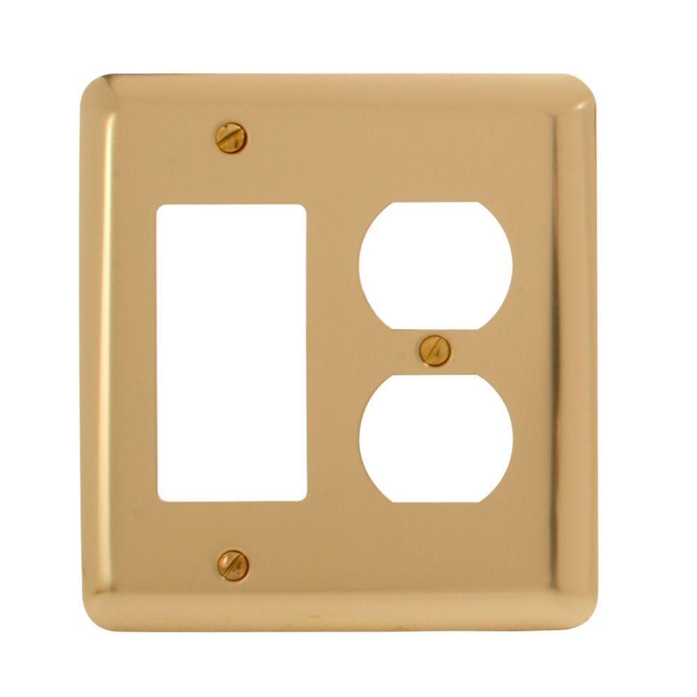 Steel 1 Decora 1 Duplex Wall Plate - Bright Brass
