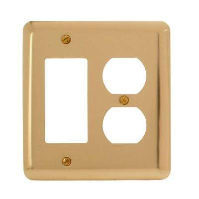Steel 1 Decora 1 Duplex Wall Plate - Bright Brass