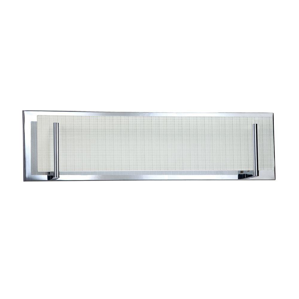 Aurora Series 4-Light Chrome Vanity Light with Linen Glass