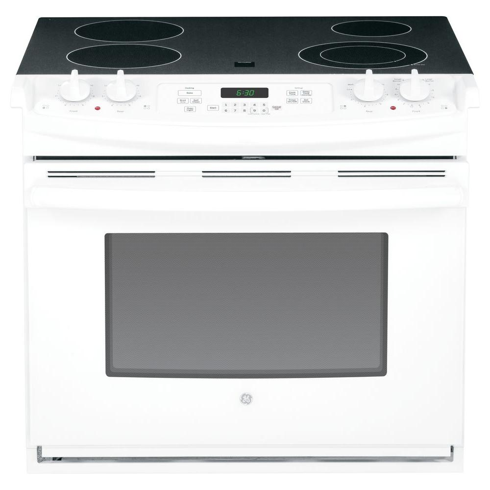 GE 4.4 cu. ft. Drop-In Electric Range with Self-Cleaning in White
