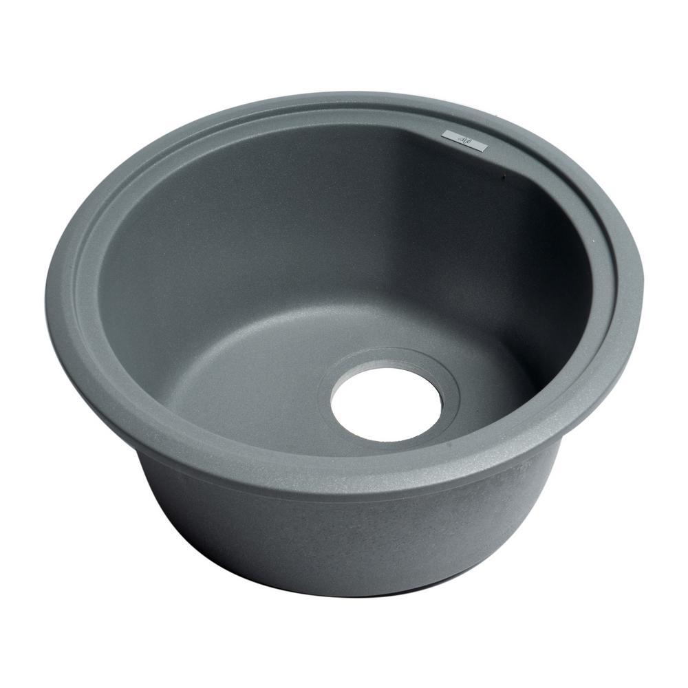 Undermount Granite Composite 17 in. Single Bowl Kitchen Sink in Titanium