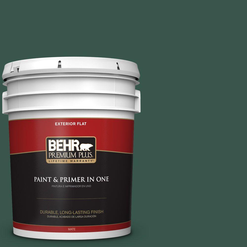 BEHR Premium Plus 5-gal. #PPF-02 Patio Green Flat Exterior Paint