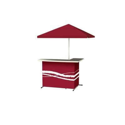 Classic Burgundy All-Weather L-Shaped Patio Bar with 6 ft. Umbrella