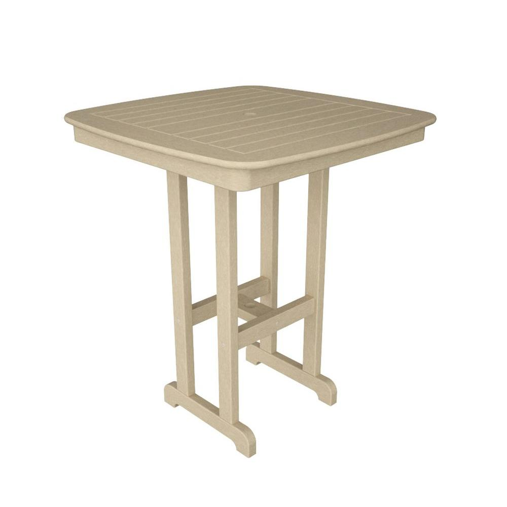 POLYWOOD Nautical Sand 37 in. Patio Bar Table