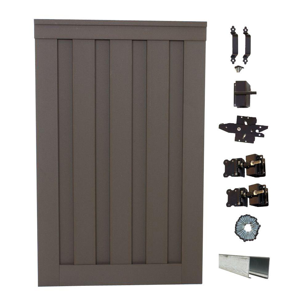 Seclusions 4 ft. x 6 ft. Winchester Grey Wood-Plastic Composite Privacy