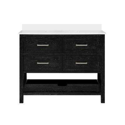 Hillcrest 42 in. Bath Vanity in Black Cerused with Cultured Marble Vanity Top in White with White Basin