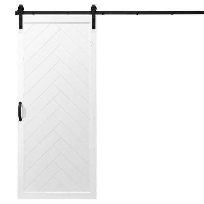 36 in. x 84 in. Herringbone White Alder Wood Interior Sliding Barn Door Slab with Hardware Kit