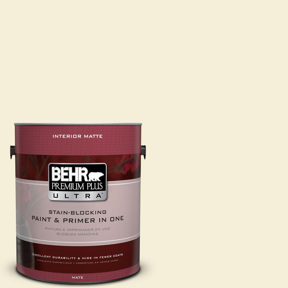 BEHR Premium Plus Ultra 1 gal. #W-D-420 Beach White Flat/Matte Interior Paint