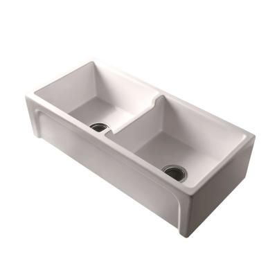 Myron Farmhouse Apron Front Fireclay 39 in. 50/50 Double Bowl Kitchen Sink in Bisque