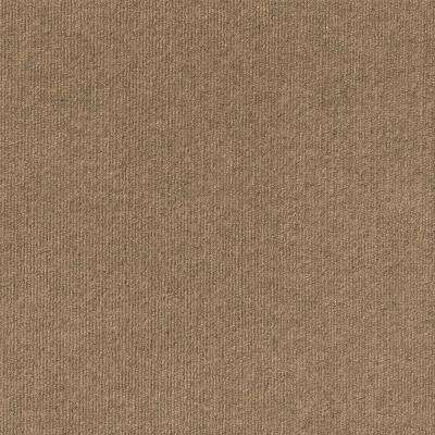 Premium Self-Stick Chestnut Ribbed Texture 18 in. x 18 in. Carpet Tile (16 Tiles/Case)