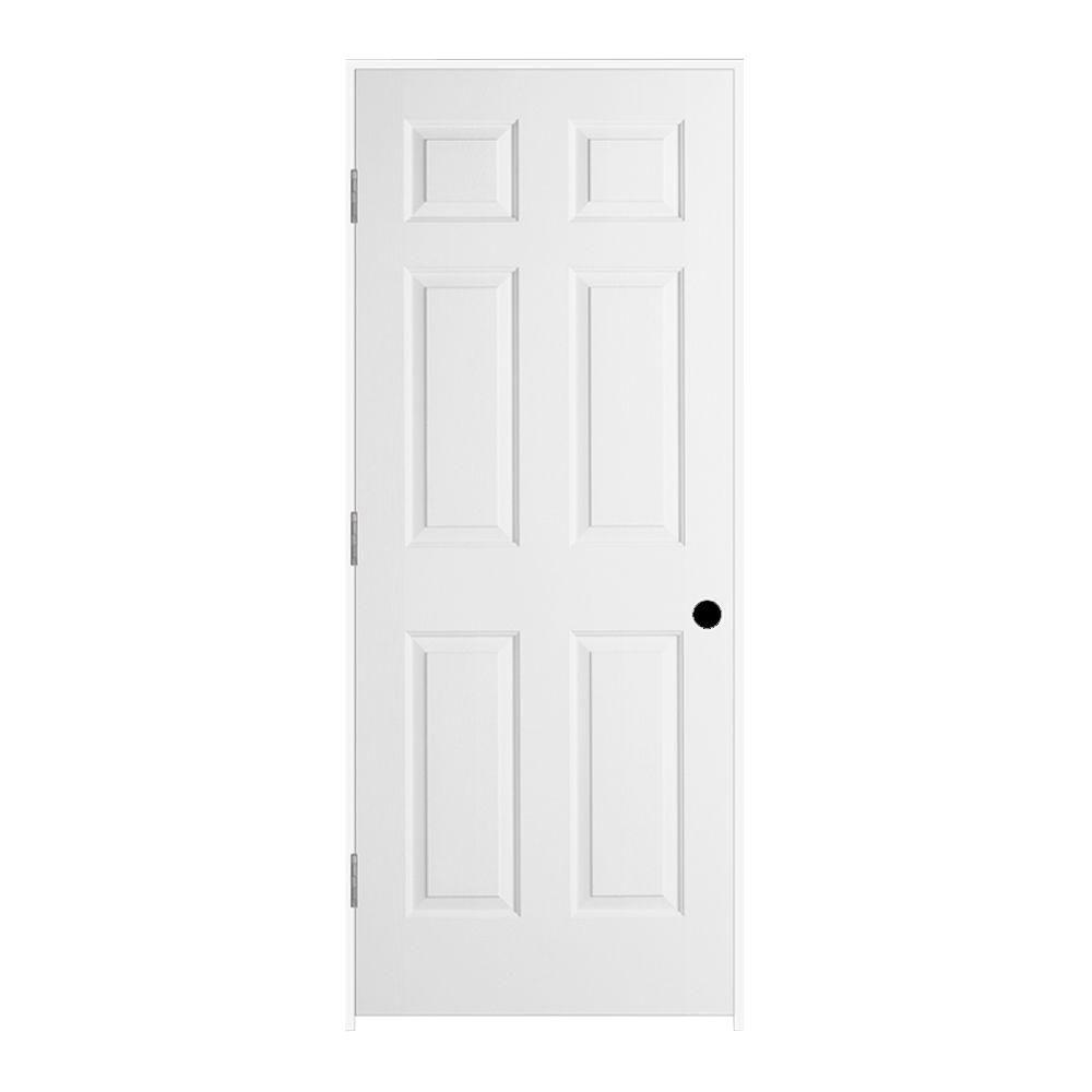 JELD-WEN 32 in. x 80 in. Colonist Primed Right-Hand Textured Solid Core Molded Composite MDF Single Prehung Interior Door
