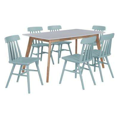 Windsor 7-Piece Dining Set with White Topped Rectangle Table and Armless Wood Dining Chairs in Sky Blue