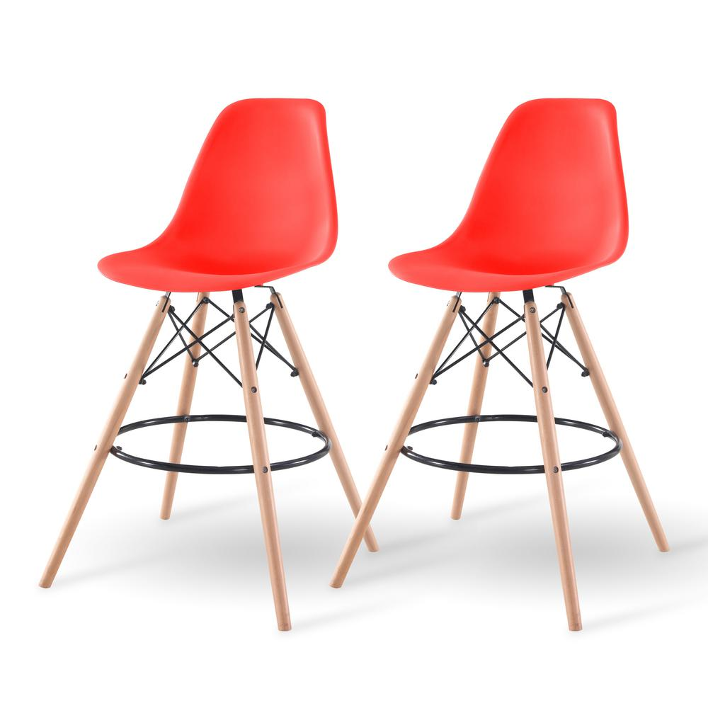 Iris 43 In Red Bar Stool Set Of 2 586758 The Home Depot