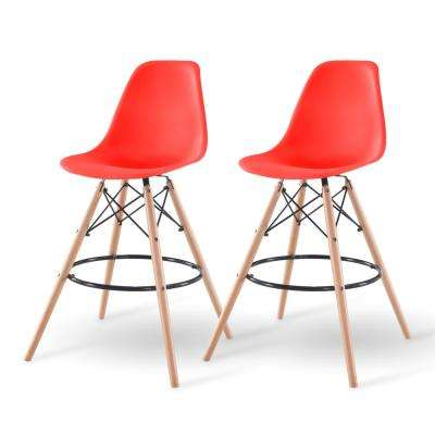 43 in. Red Bar Stool (Set of 2)