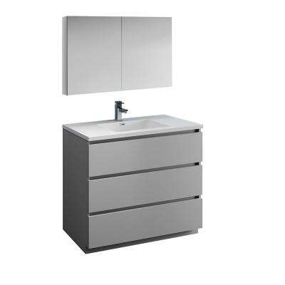 Lazzaro 42 in. Modern Bathroom Vanity in Gray with Vanity Top in White with White Basin and Medicine Cabinet