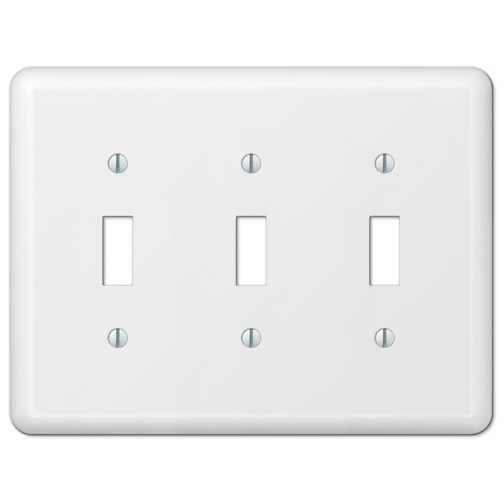 a0ff87219fa Hampton Bay Declan 3 Toggle Wall Plate - White Steel-935TTTWHB - The ...