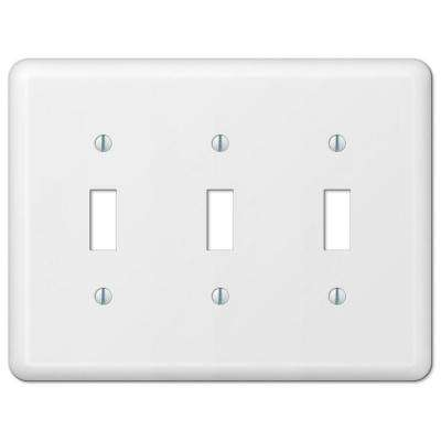 Declan 3 Toggle Wall Plate - White Steel