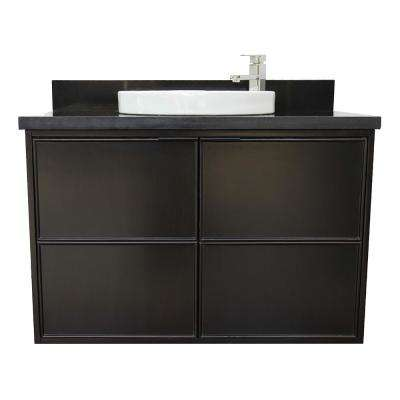 Scandi IV 37 in. W x 22 in. D Wallmount Bath Vanity in Cappuccino with Granite Top in Black with White Round Basin
