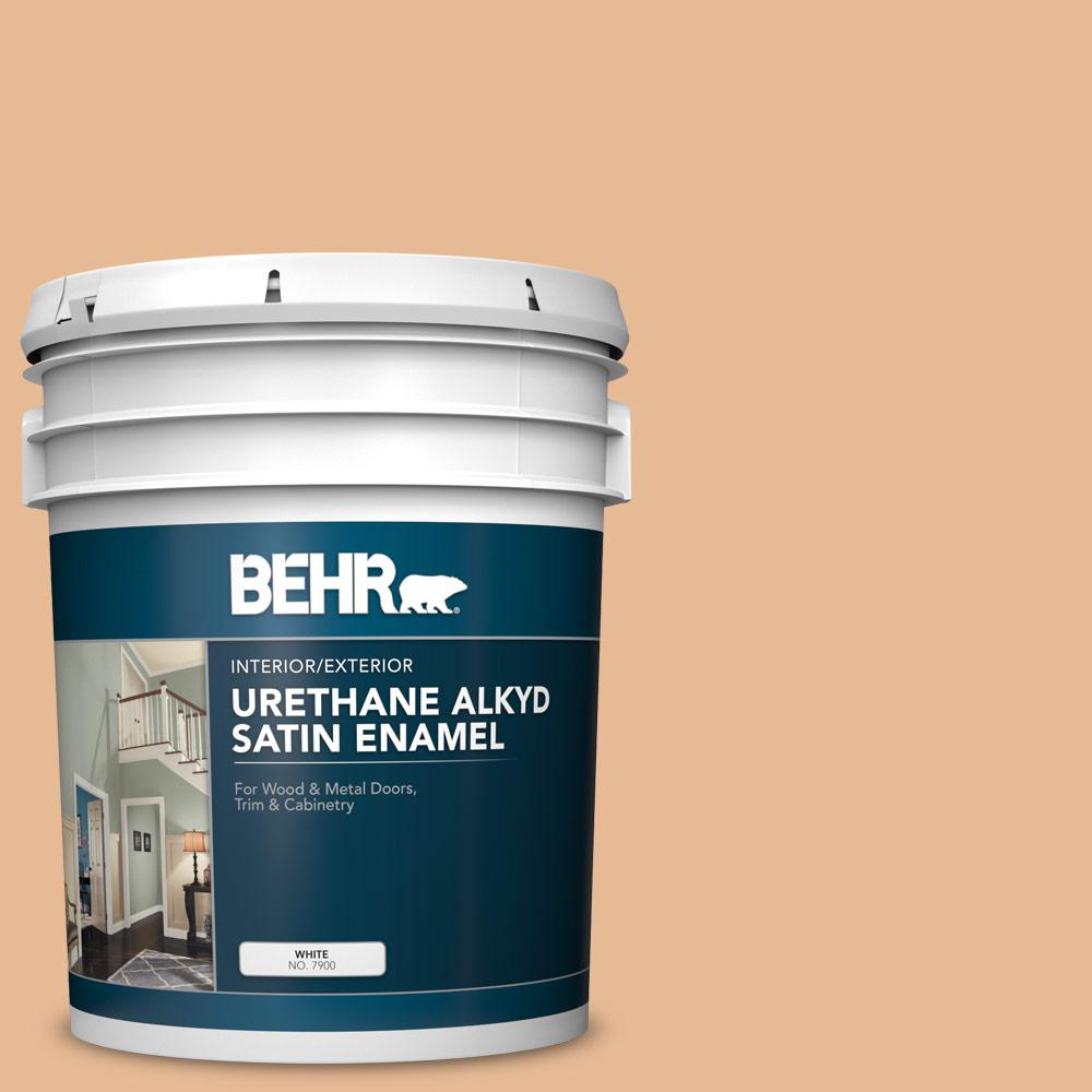 Behr 5 Gal 280c 3 Fresh Praline Urethane Alkyd Satin Enamel Interior Exterior Paint 790005 The Home Depot