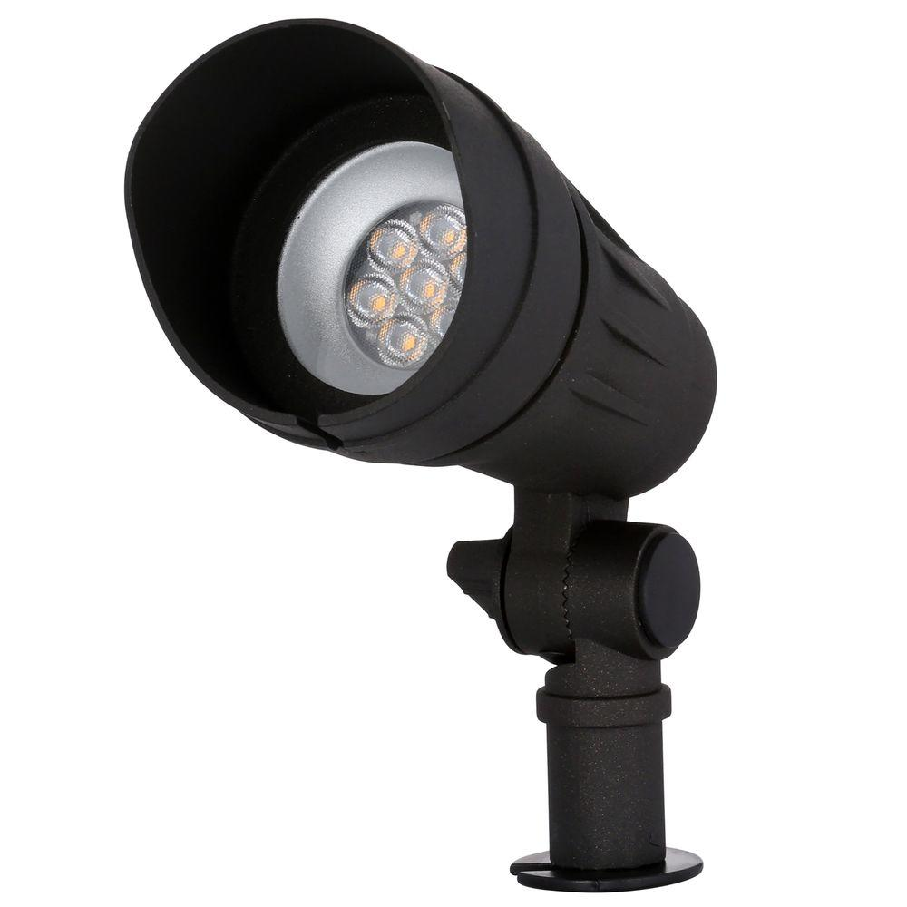 H&ton Bay Low-Voltage Integrated LED (50W halogen equivalent) Outdoor Black Spot Light  sc 1 st  The Home Depot : low voltage spot lights - azcodes.com