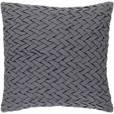 Bendmore Dark Grey Solid Polyester 22 in. x 22 in. Throw Pillow