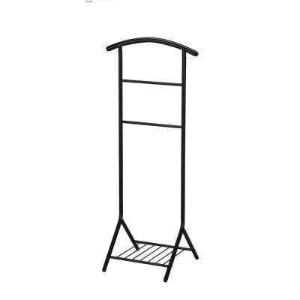 18 in. x 45 in. Black Tubular Metal Valet Stand