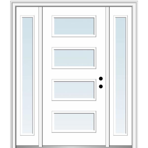 Mmi Door 68 5 In X 81 75 In Celeste Left Hand Inswing 4 Lite Clear Low E Painted Fiberglass Prehung Front Door With Sidelites Z0345631l The Home Depot