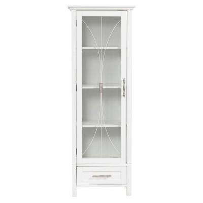 Victorian 17 in. W x 48-1/2 in. H x 13-1/2 in. D Bathroom Linen Storage Cabinet in White