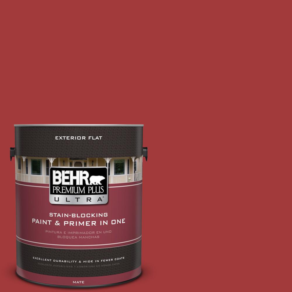 BEHR Premium Plus Ultra 1 gal. #UL110-16 Bijou Red Flat Exterior Paint