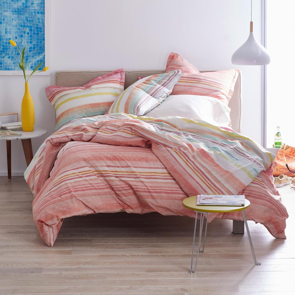 Crayon Stripe Multicolored Cotton Percale King Duvet Cover