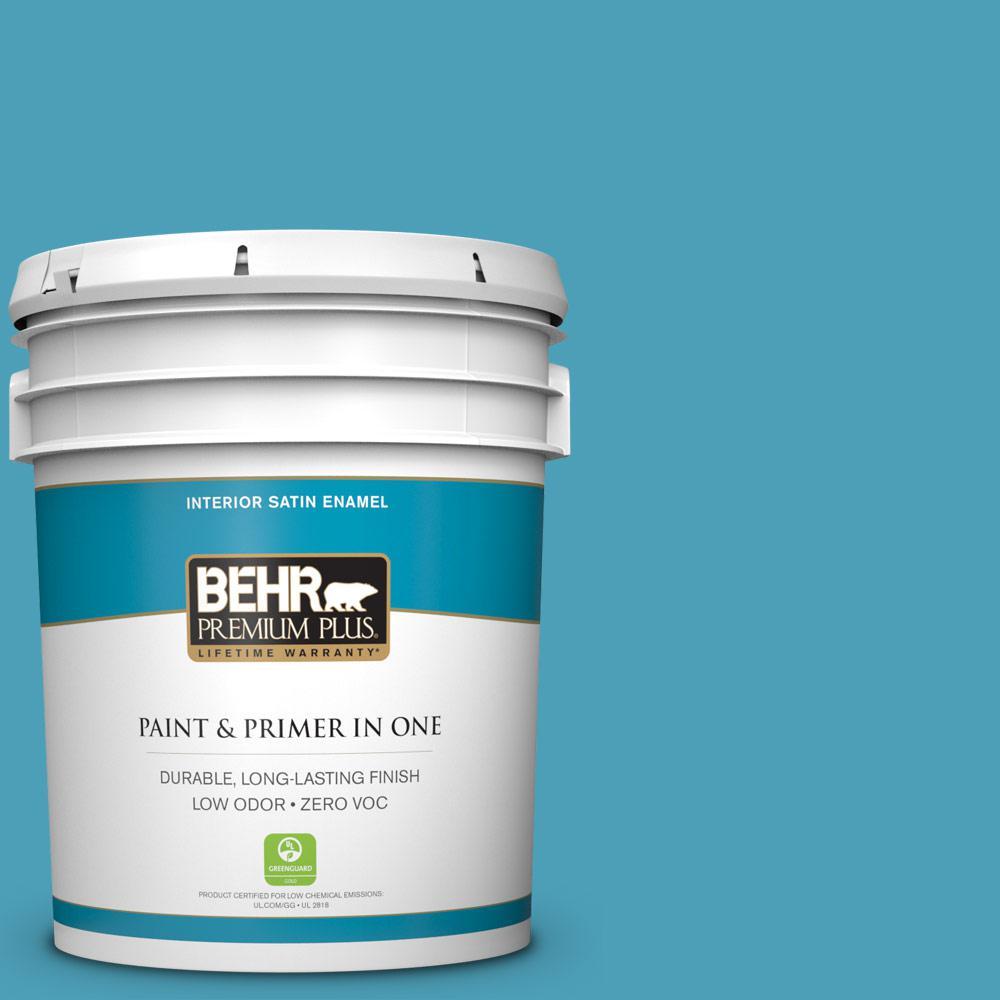 BEHR Premium Plus 5 gal. #M480-5A North Pole Blue Satin Enamel Zero VOC Interior Paint and Primer in One
