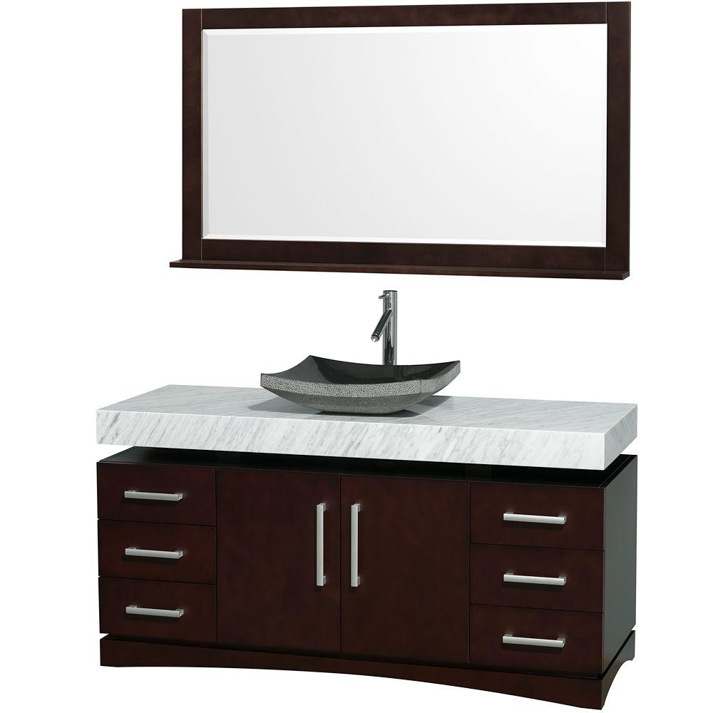 Wyndham Collection Monterey 60 in. Vanity in Espresso with Marble Vanity Top in Carrara White and Black Granite Sink-DISCONTINUED