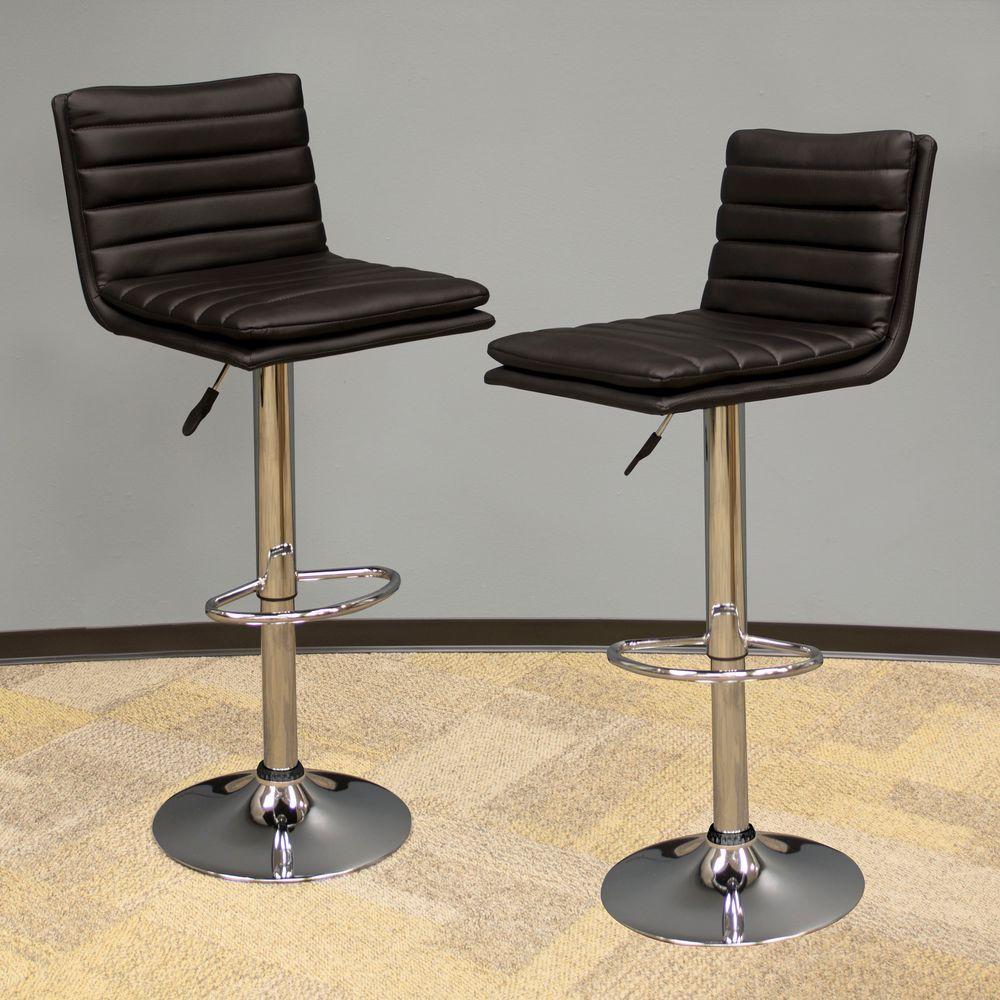 Modern Style Adjustable Height Black Swivel Cushioned Bar Stool (Set of 2)