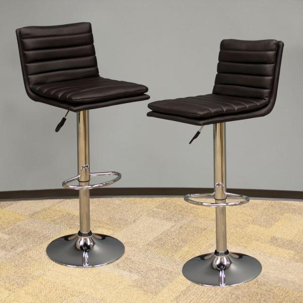 AmeriHome Modern Style Adjustable Height Black Swivel Cushioned Bar Stool (Set of 2)
