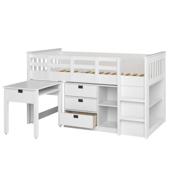 CorLiving Madison 4 Piece All-in-One Single/Twin Loft Bed in Snow White