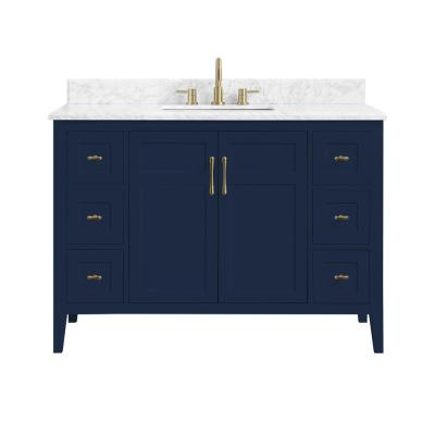 Sturgess 49 in. W x 22 in. D Bath Vanity in Navy Blue with Marble Vanity Top in Carrara White with White Basin