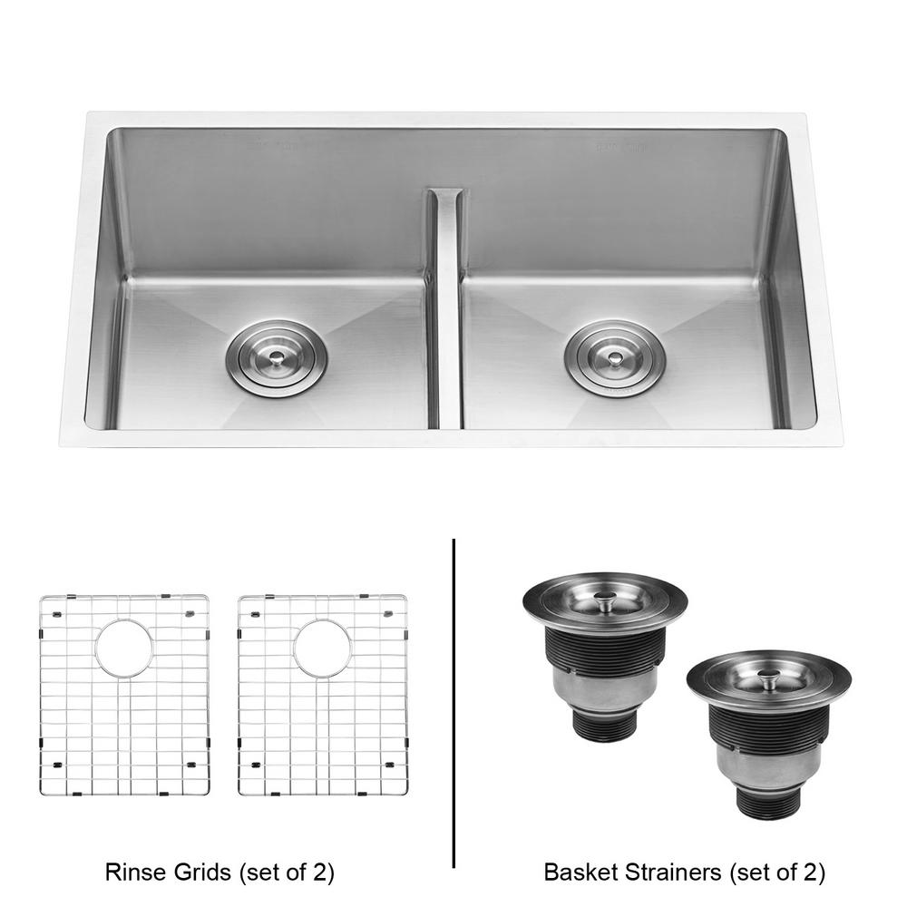 ruvati undermount stainless steel 30 in  50 50 low divide double bowl 16  ruvati undermount stainless steel 30 in  50 50 low divide double      rh   homedepot com