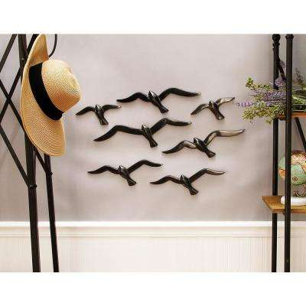 Black Aluminum Birds-in-Flight Wall Decor (7-Pack)