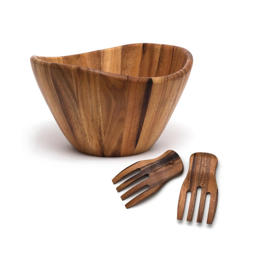 Acacia 12 in. Wavy Rim Bowl with Salad Hands