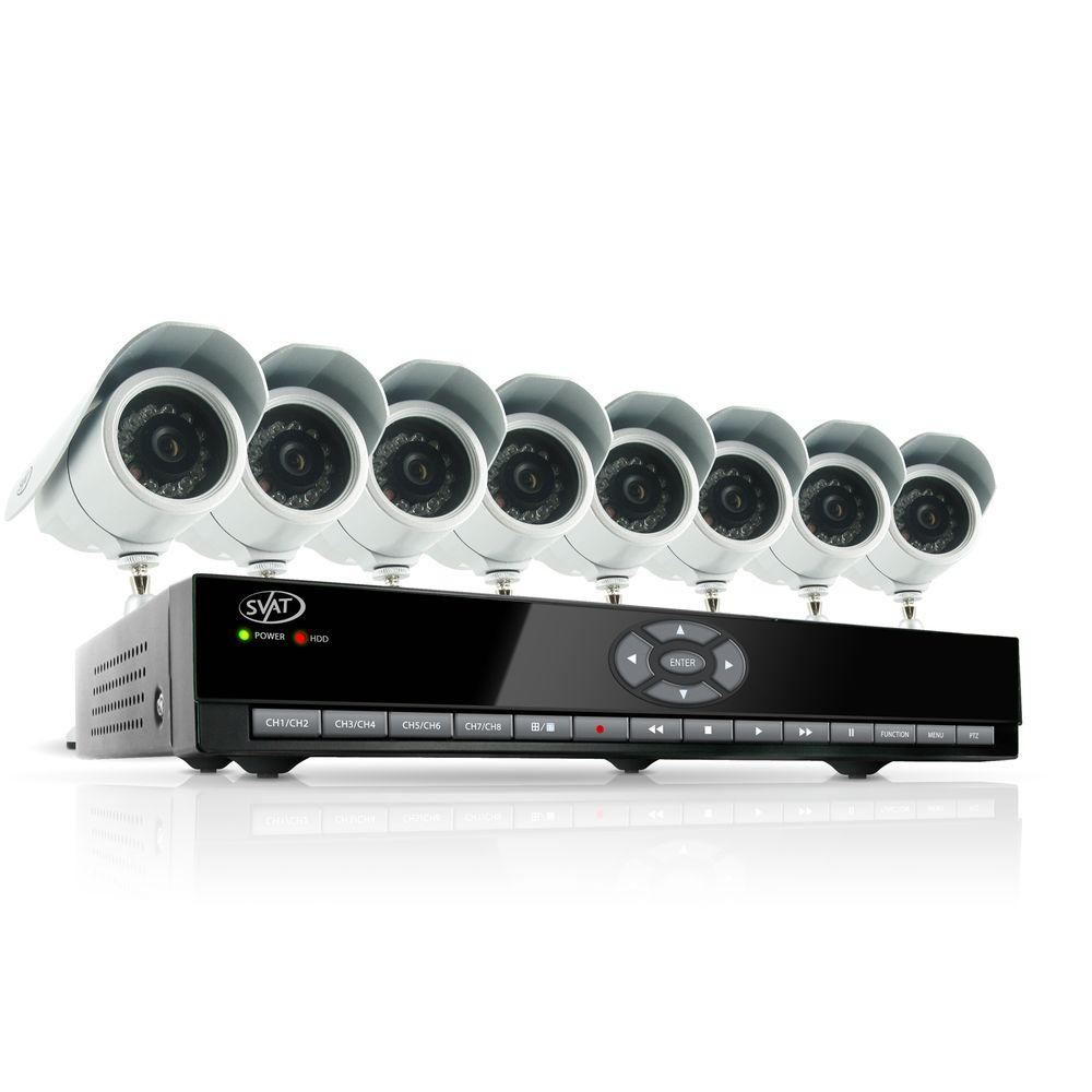 SVAT Electronics 8 Ch. 500GB Smart Security System with 8 Indoor/Outdoor 480 TVL Night Vision Cameras-DISCONTINUED