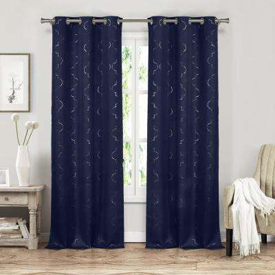 Stephanie 37 in. x 84 in. L Polyester Blackout Curtain Panel in Navy (2-Pack)