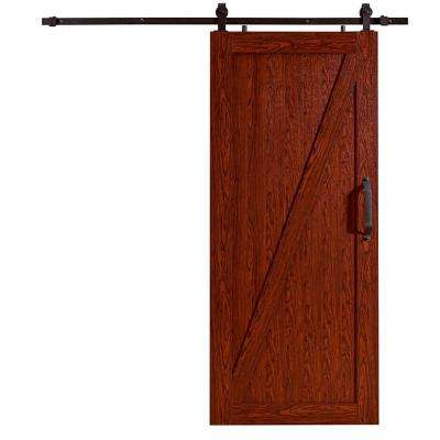 42 in. x 84 in. Millbrooke Cherry Z Style Ready to Assemble PVC Vinyl Barn Door with Sliding Door Hardware Kit