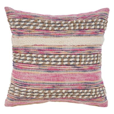 Eclectic Pink Striped Hypoallergenic Polyester 18 in. x 18 in. Throw Pillow